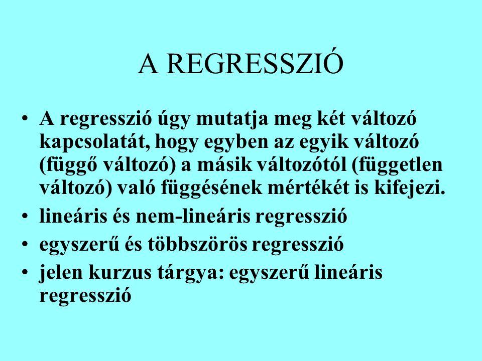 A REGRESSZIÓ A regresszió úgy mutatja meg két változó kapcsolatát, hogy egyben az egyik változó (függő változó) a másik változótól (független változó) való függésének mértékét is kifejezi.