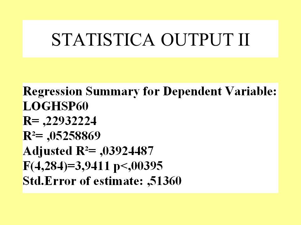 STATISTICA OUTPUT II