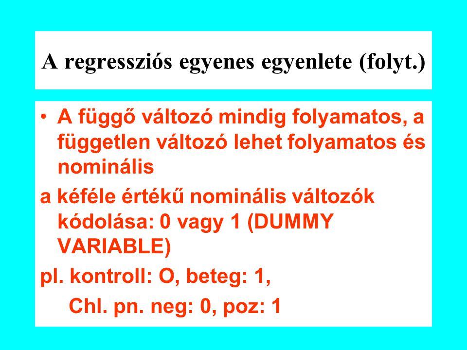 A regressziós egyenes egyenlete (folyt.) A függő változó mindig folyamatos, a független változó lehet folyamatos és nominális a kéféle értékű nominális változók kódolása: 0 vagy 1 (DUMMY VARIABLE) pl.