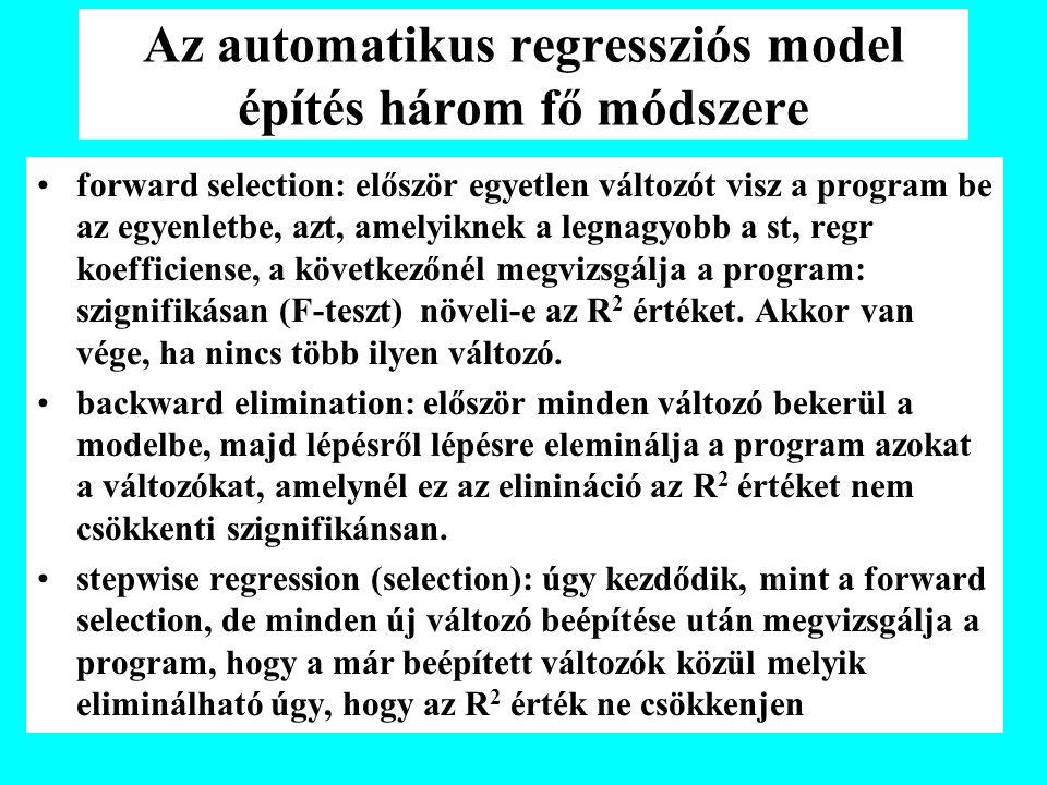 Az automatikus regressziós model építés három fő módszere forward selection: először egyetlen változót visz a program be az egyenletbe, azt, amelyiknek a legnagyobb a st, regr koefficiense, a következőnél megvizsgálja a program: szignifikásan (F-teszt) növeli-e az R 2 értéket.