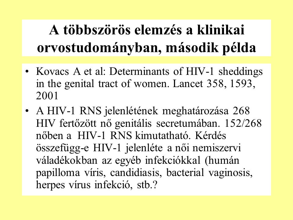 A többszörös elemzés a klinikai orvostudományban, második példa Kovacs A et al: Determinants of HIV-1 sheddings in the genital tract of women.
