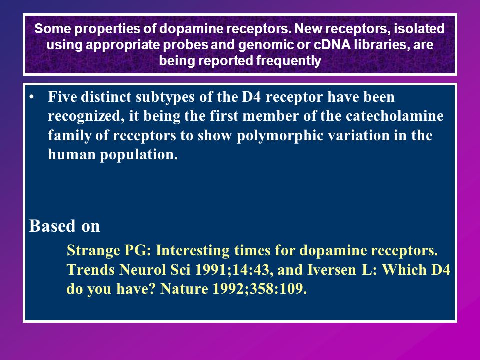 Five distinct subtypes of the D4 receptor have been recognized, it being the first member of the catecholamine family of receptors to show polymorphic variation in the human population.