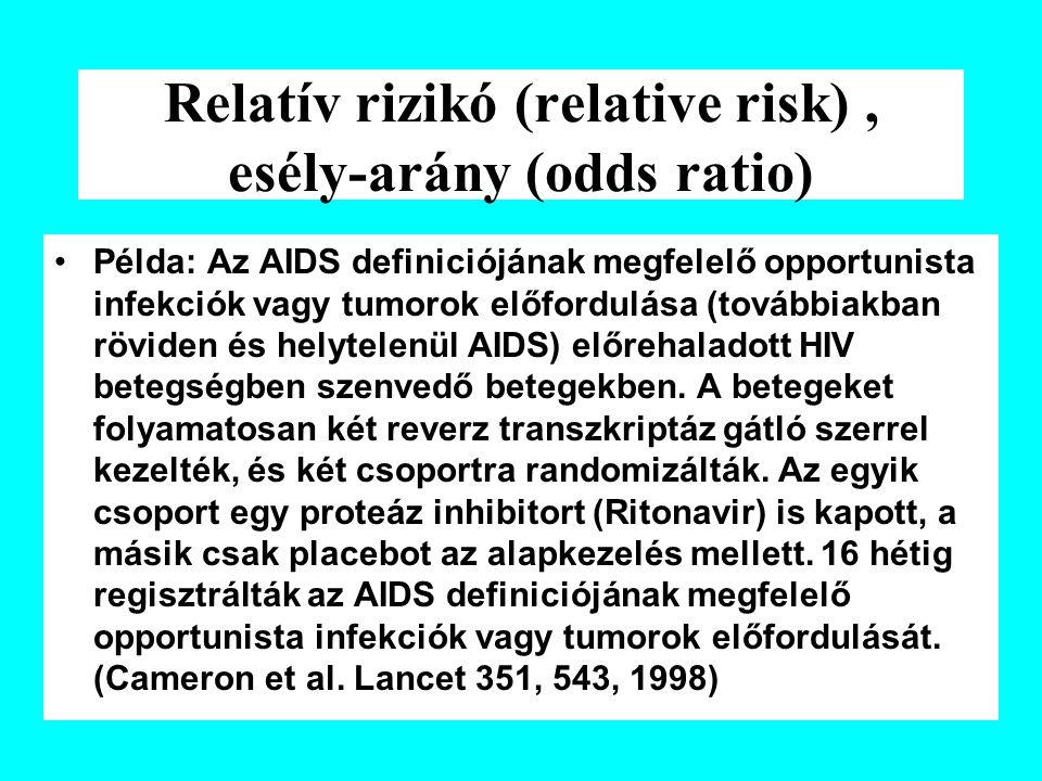 Relatív rizikó (relative risk), esély-arány (odds ratio) Példa: Az AIDS definiciójának megfelelő opportunista infekciók vagy tumorok előfordulása (továbbiakban röviden és helytelenül AIDS) előrehaladott HIV betegségben szenvedő betegekben.