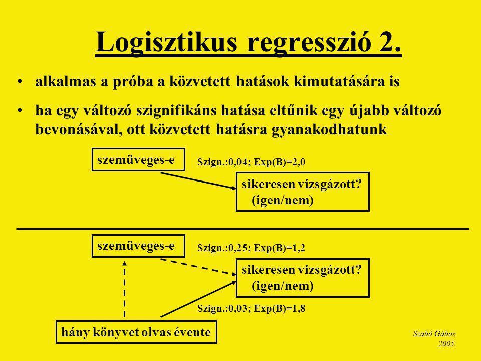 Szabó Gábor, 2005. Logisztikus regresszió 2. alkalmas a próba a közvetett hatások kimutatására is ha egy változó szignifikáns hatása eltűnik egy újabb