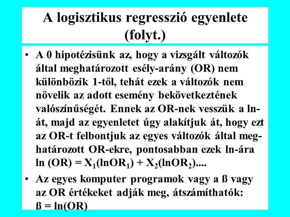 A logisztikus regresszió egyenlete (folyt.) A 0 hipotézisünk az, hogy a vizsgált változók által meghatározott esély-arány (OR) nem különbözik 1-től, t