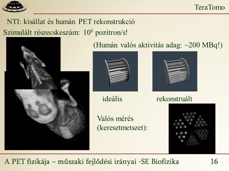 A PET fizikája – műszaki fejlődési irányai -SE Biofizika 16 TeraTomo NTI: kisállat és humán PET rekonstrukció Szimulált részecskeszám: 10 8 pozitron/s.