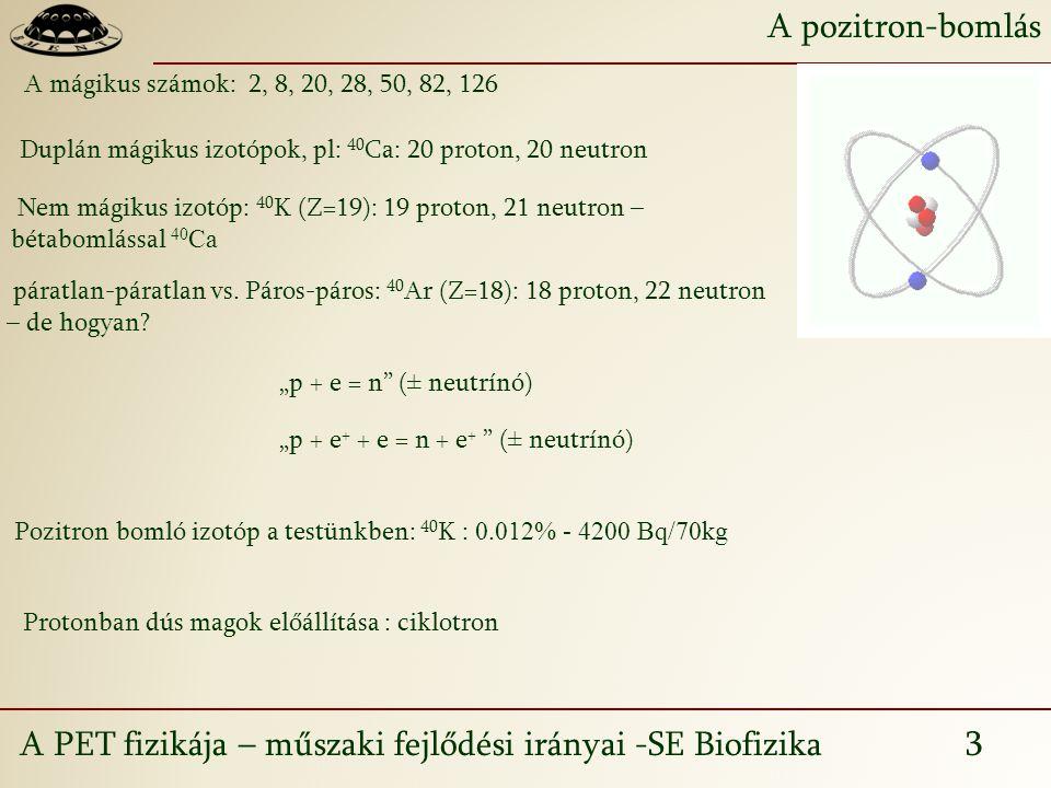 A PET fizikája – műszaki fejlődési irányai -SE Biofizika 3 A pozitron-bomlás A mágikus számok: 2, 8, 20, 28, 50, 82, 126 Duplán mágikus izotópok, pl: 40 Ca: 20 proton, 20 neutron Nem mágikus izotóp: 40 K (Z=19): 19 proton, 21 neutron – bétabomlással 40 Ca páratlan-páratlan vs.