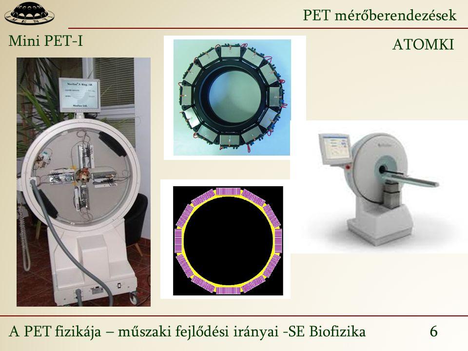 A PET fizikája – műszaki fejlődési irányai -SE Biofizika 6 PET mérőberendezések Mini PET-I ATOMKI