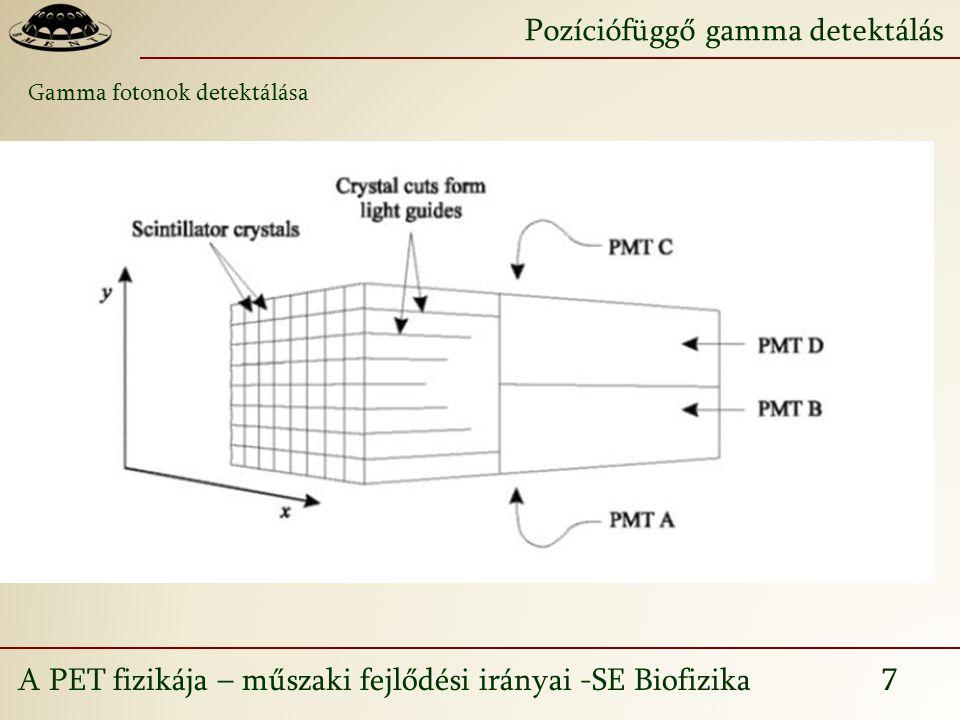 A PET fizikája – műszaki fejlődési irányai -SE Biofizika 7 Pozíciófüggő gamma detektálás Gamma fotonok detektálása