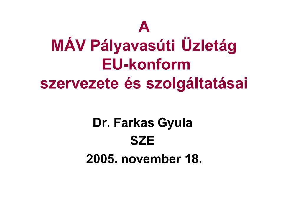 A MÁV Pályavasúti Üzletág EU-konform szervezete és szolgáltatásai Dr. Farkas Gyula SZE 2005. november 18.