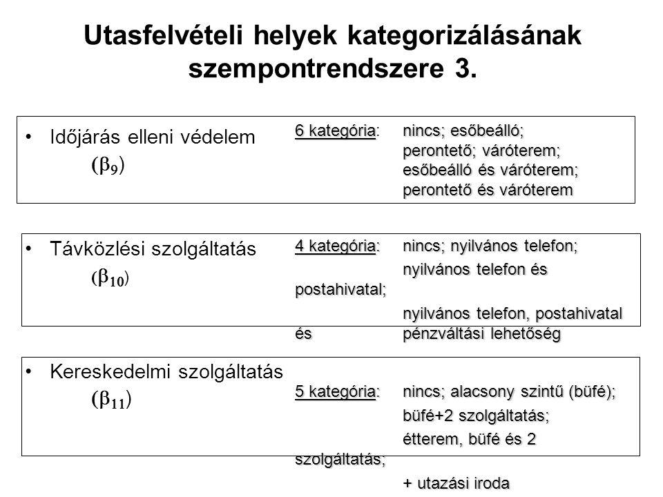 Utasfelvételi helyek kategorizálásának szempontrendszere 3. Időjárás elleni védelem   ) Távközlési szolgáltatás    ) Kereskedelmi szolgáltatás
