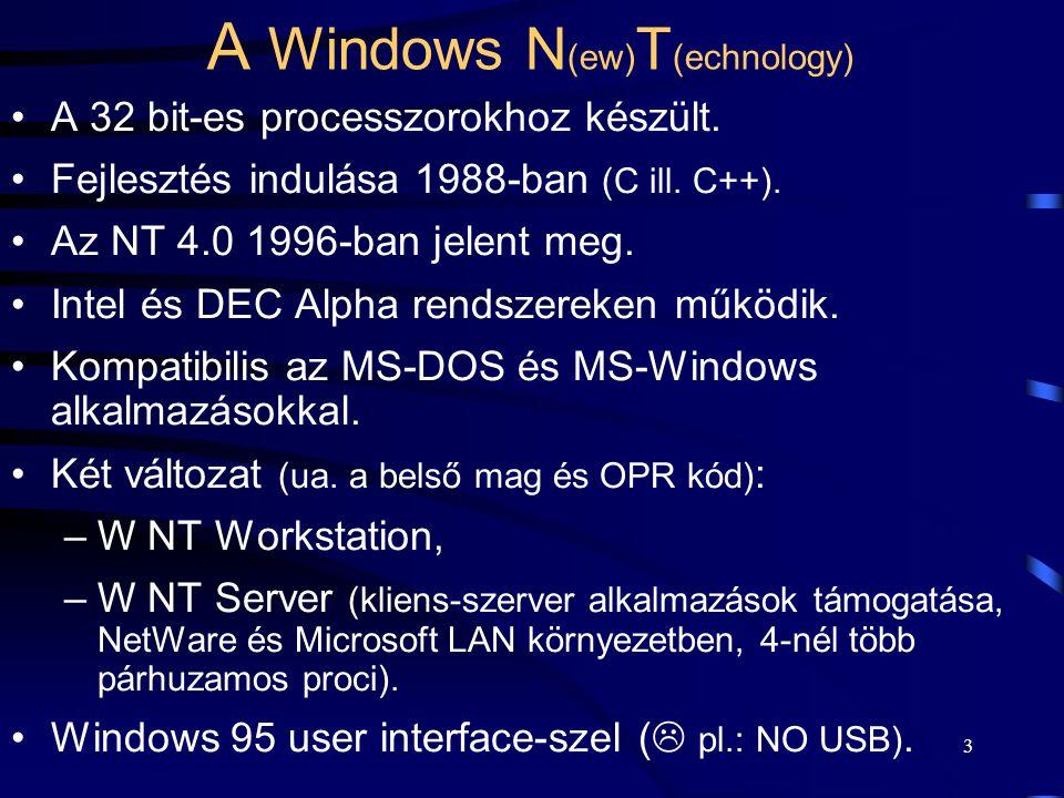 2 A UNIX Az első változat egy játékprogram környezeteként lett kifejlesztve 1969-ben (Bell T.