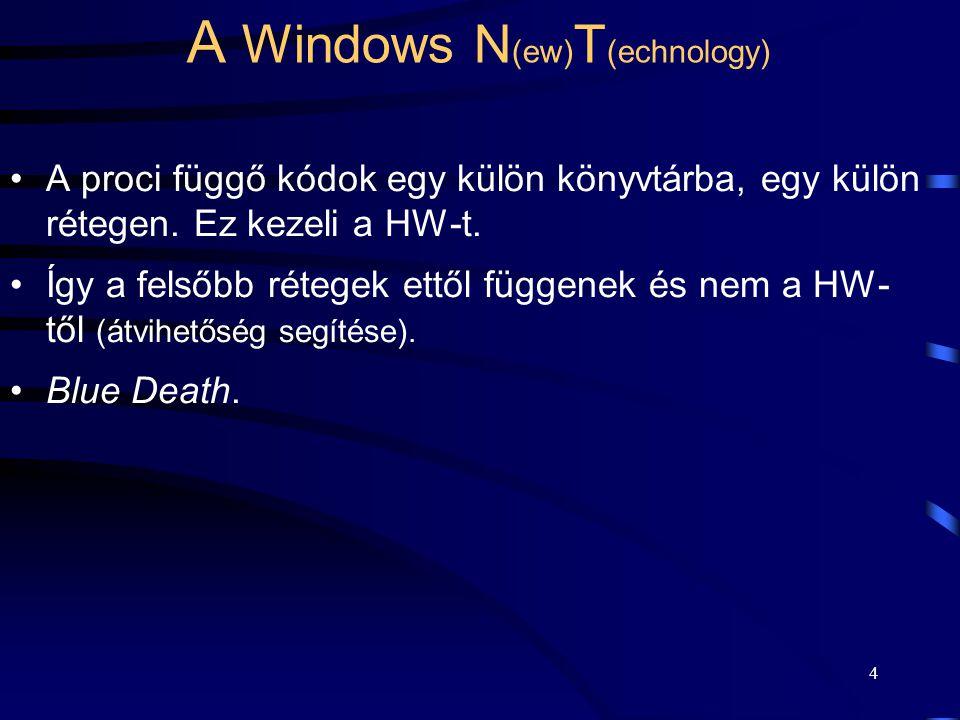 3 A Windows N (ew) T (echnology) A 32 bit-es processzorokhoz készült. Fejlesztés indulása 1988-ban (C ill. C++). Az NT 4.0 1996-ban jelent meg. Intel