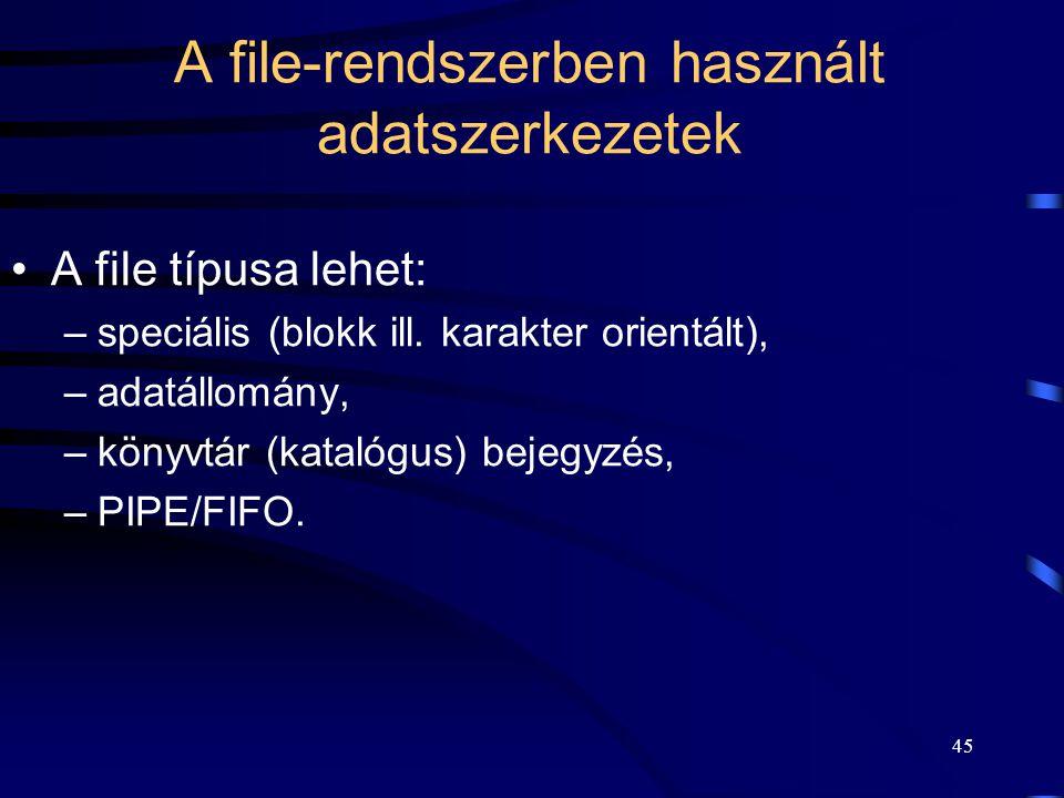 44 A UNIX file-kezelése Egyetlen gyökérkönyvtár ( / ).
