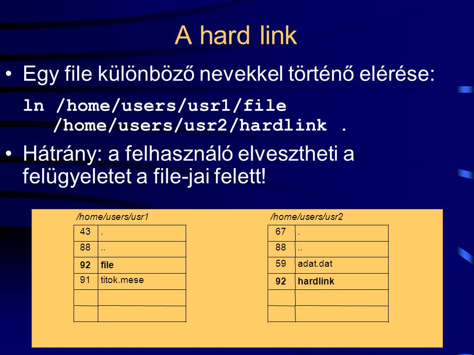 50 A UNIX file-rendszer felhasználói felülete Lehetőségek:  standard input/output átirányítás,  mount: két file-rendszer összekapcsolása,  link-ek létrehozása;  hard link,  soft link,  pipe (csatorna).