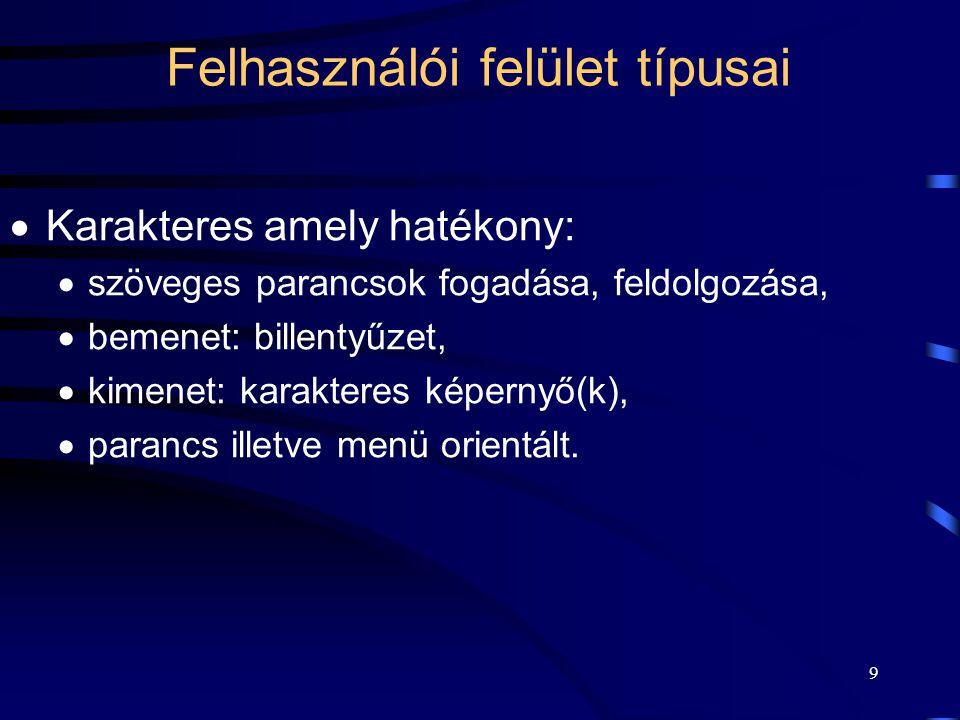 8 A felhasználói felülettel szemben támasztott igények Tapasztalt felhasználók: –hatékony, a rendszer minden lehetőségét kihasználó parancsok, –konfig