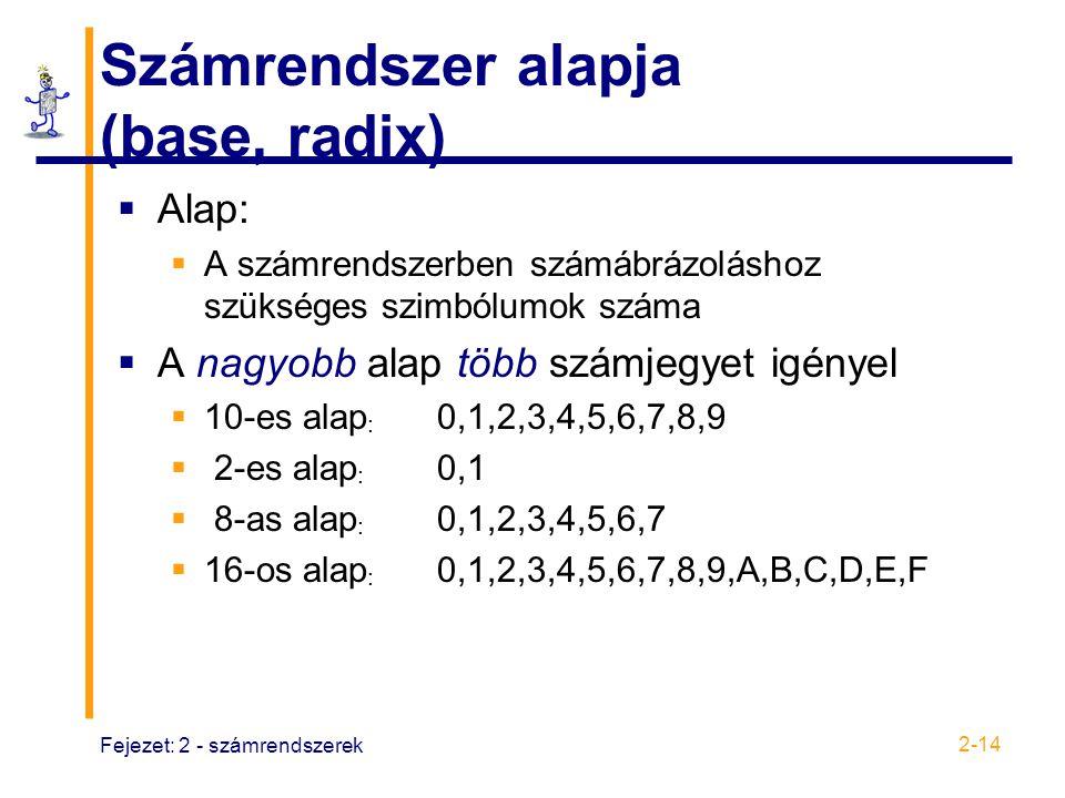 Fejezet: 2 - számrendszerek 2-14 Számrendszer alapja (base, radix)  Alap:  A számrendszerben számábrázoláshoz szükséges szimbólumok száma  A nagyob