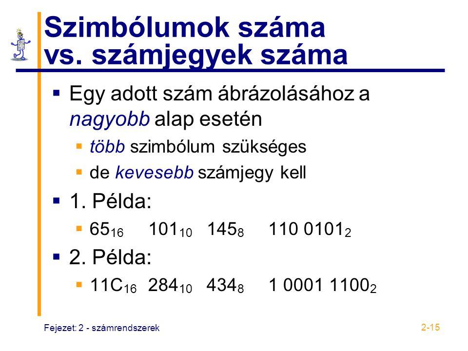 Fejezet: 2 - számrendszerek 2-15 Szimbólumok száma vs. számjegyek száma  Egy adott szám ábrázolásához a nagyobb alap esetén  több szimbólum szüksége