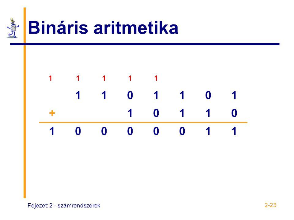Fejezet: 2 - számrendszerek 2-23 Bináris aritmetika 1 1 1 1 1 1101101 +10110 10000011