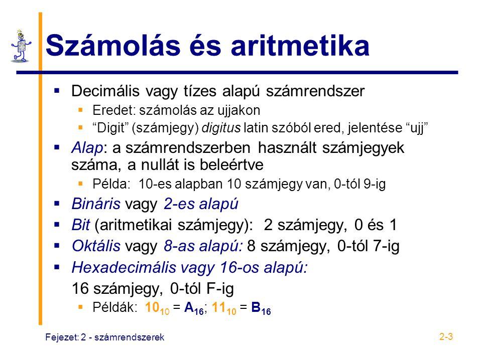 """Fejezet: 2 - számrendszerek 2-3 Számolás és aritmetika  Decimális vagy tízes alapú számrendszer  Eredet: számolás az ujjakon  """"Digit"""" (számjegy) di"""
