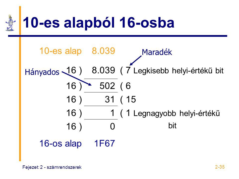 Fejezet: 2 - számrendszerek 2-35 10-es alapból 16-osba 10-es alap8.039 16 )8.039( 7 Legkisebb helyi-értékű bit 16 )502( 6 16 )31( 15 16 )1( 1 Legnagyo