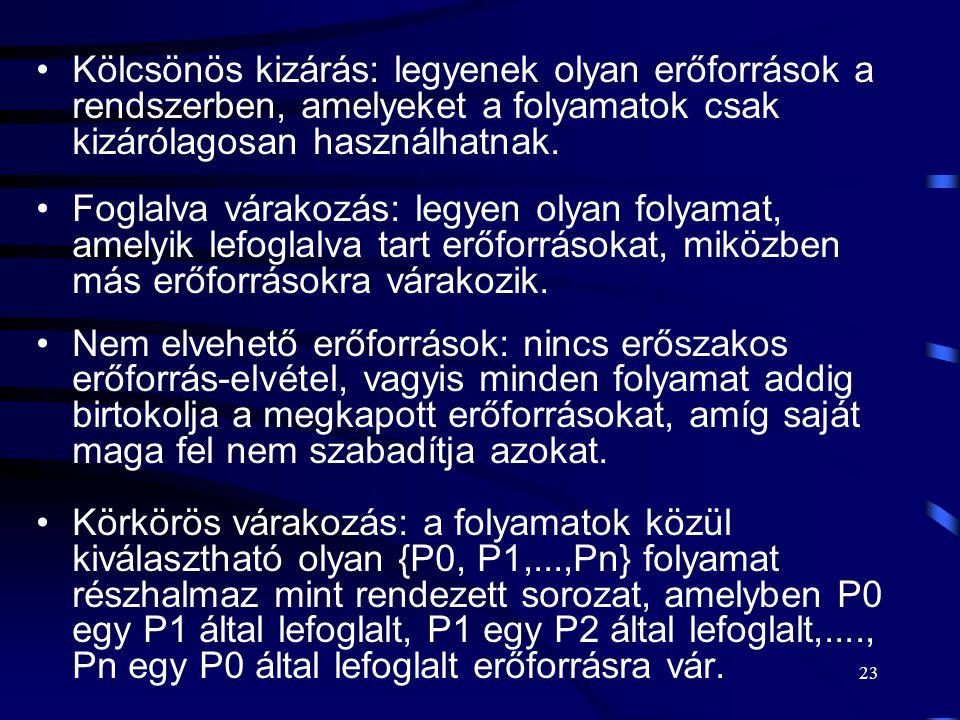 22 A holtpont kialakulásának feltételei I. A holtpont kialakulásának szükséges feltételei: kölcsönös kizárás (erőforrás használat), foglalva várakozás