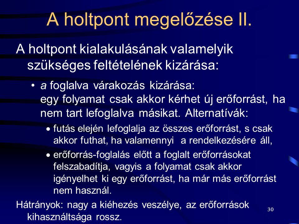 29 A holtpont megelőzése I. A holtpont kialakulásának valamelyik szükséges feltételének kizárása: A kölcsönös kizárást nem lehet kiküszöbölni: nem meg