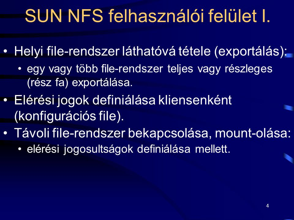15 Egy működő SUN NFS rendszer szoftver komponensei II.