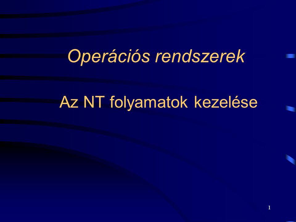 1 Operációs rendszerek Az NT folyamatok kezelése