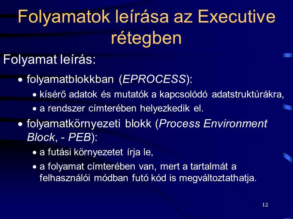 12 Folyamatok leírása az Executive rétegben Folyamat leírás:  folyamatblokkban (EPROCESS):  kísérő adatok és mutatók a kapcsolódó adatstruktúrákra,  a rendszer címterében helyezkedik el.