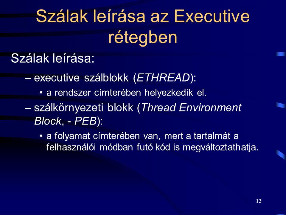 13 Szálak leírása az Executive rétegben Szálak leírása: –executive szálblokk (ETHREAD): a rendszer címterében helyezkedik el.