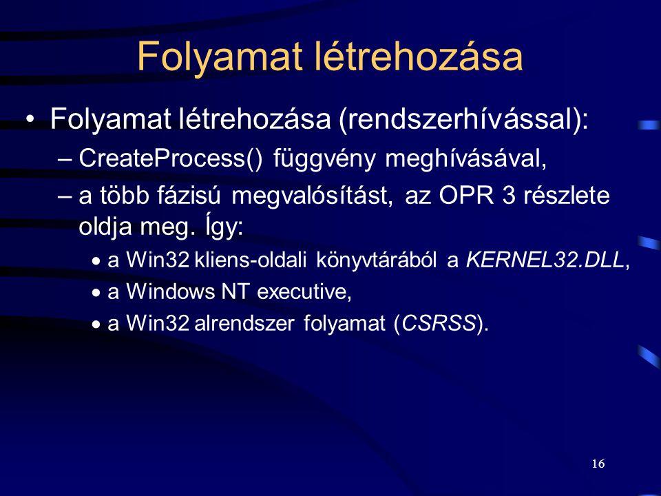 16 Folyamat létrehozása Folyamat létrehozása (rendszerhívással): –CreateProcess() függvény meghívásával, –a több fázisú megvalósítást, az OPR 3 részlete oldja meg.