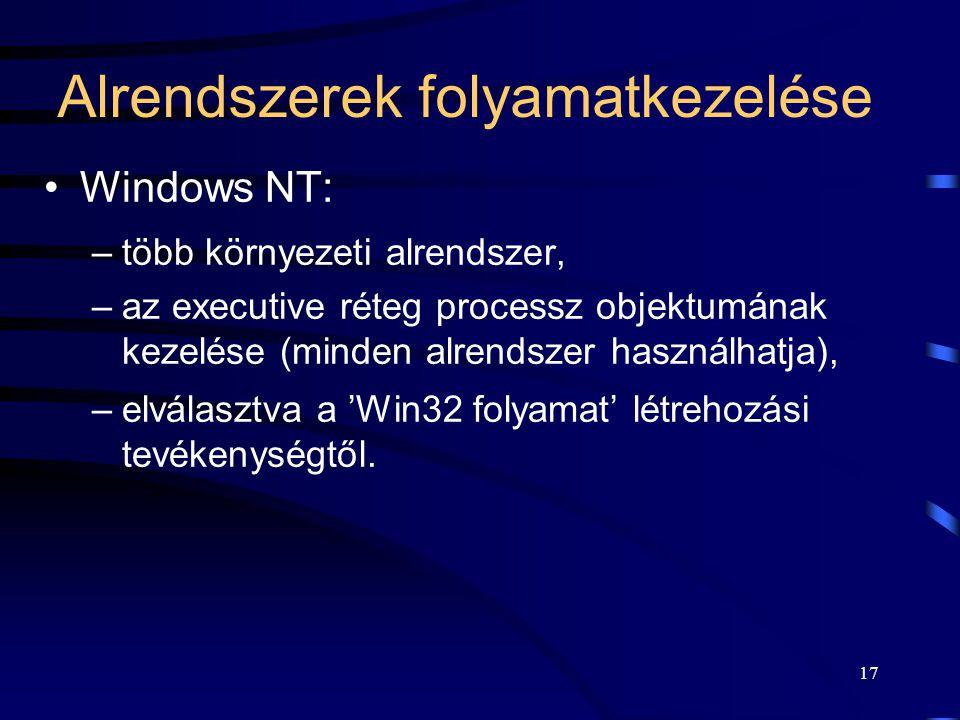 17 Alrendszerek folyamatkezelése Windows NT: –több környezeti alrendszer, –az executive réteg processz objektumának kezelése (minden alrendszer használhatja), –elválasztva a 'Win32 folyamat' létrehozási tevékenységtől.
