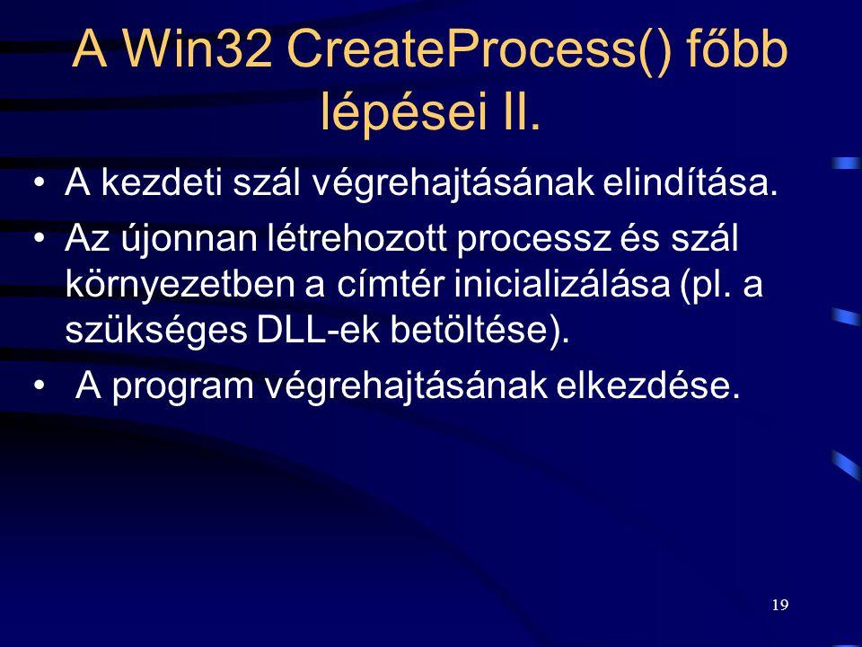 19 A Win32 CreateProcess() főbb lépései II. A kezdeti szál végrehajtásának elindítása.