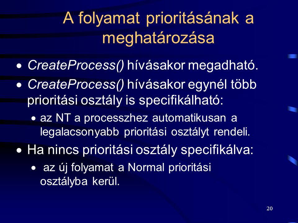 20 A folyamat prioritásának a meghatározása  CreateProcess() hívásakor megadható.