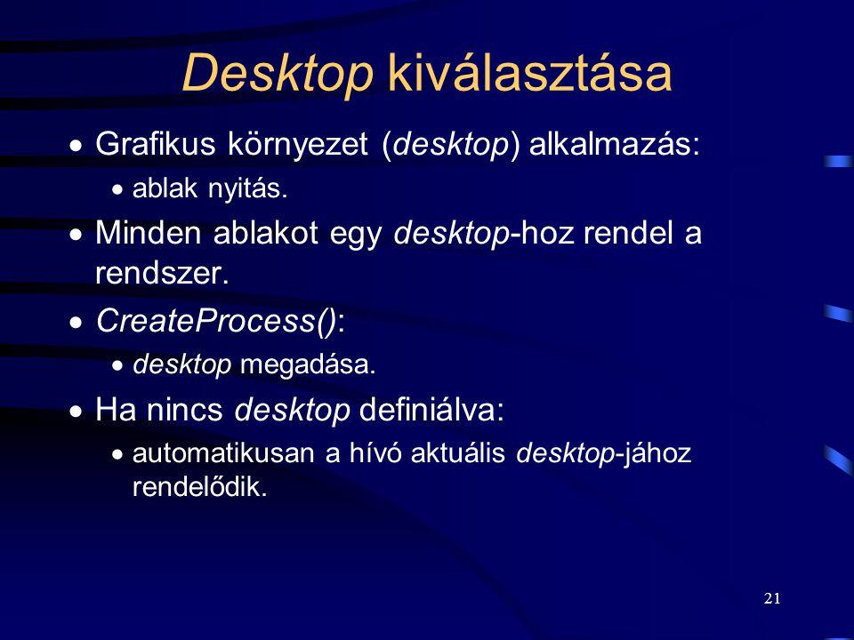 21 Desktop kiválasztása  Grafikus környezet (desktop) alkalmazás:  ablak nyitás.