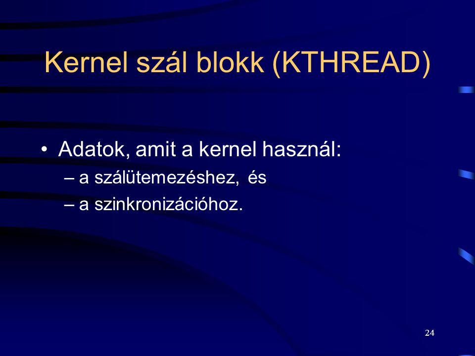 24 Kernel szál blokk (KTHREAD) Adatok, amit a kernel használ: –a szálütemezéshez, és –a szinkronizációhoz.