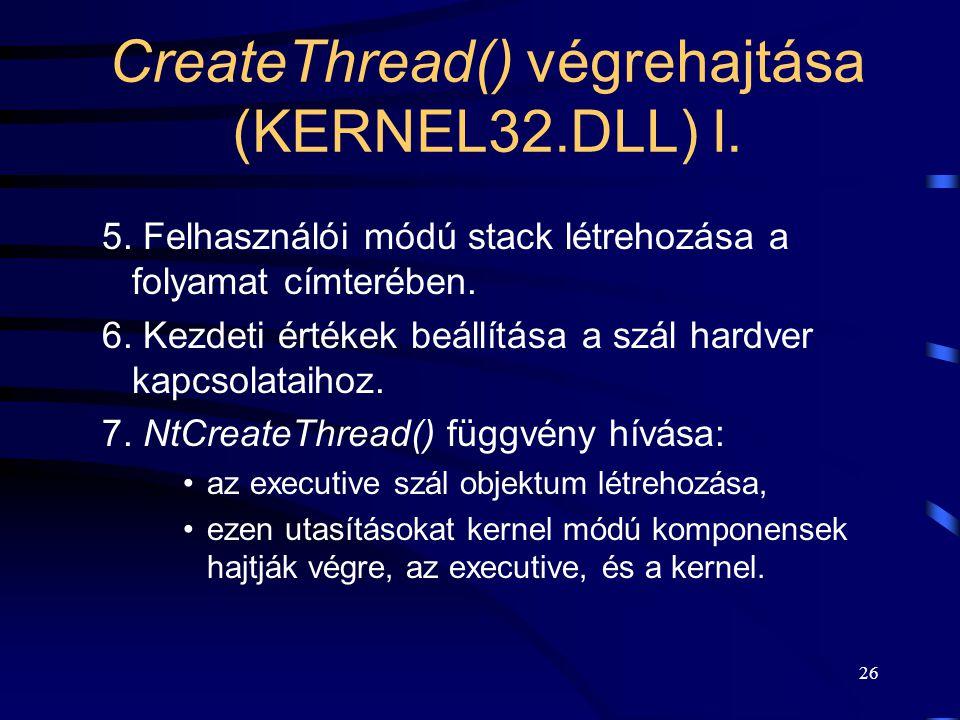 26 CreateThread() végrehajtása (KERNEL32.DLL) I. 5.