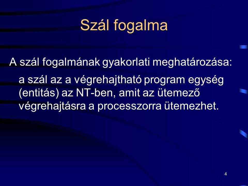 4 Szál fogalma A szál fogalmának gyakorlati meghatározása: a szál az a végrehajtható program egység (entitás) az NT-ben, amit az ütemező végrehajtásra a processzorra ütemezhet.