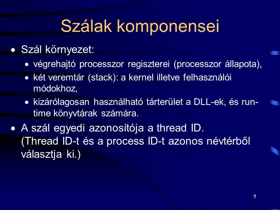 5 Szálak komponensei  Szál környezet:  végrehajtó processzor regiszterei (processzor állapota),  két veremtár (stack): a kernel illetve felhasználói módokhoz,  kizárólagosan használható tárterület a DLL-ek, és run- time könyvtárak számára.