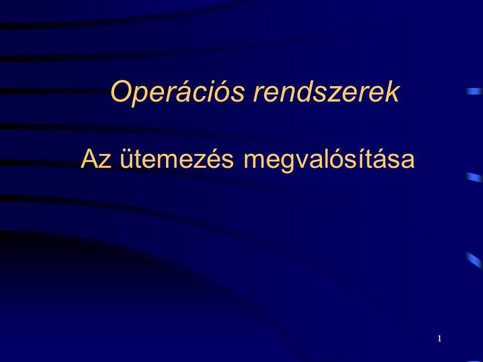 1 Operációs rendszerek Az ütemezés megvalósítása