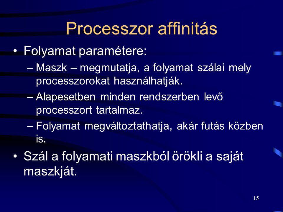 15 Processzor affinitás Folyamat paramétere: –Maszk – megmutatja, a folyamat szálai mely processzorokat használhatják. –Alapesetben minden rendszerben