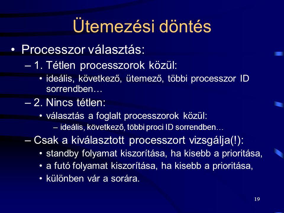 19 Ütemezési döntés Processzor választás: –1. Tétlen processzorok közül: ideális, következő, ütemező, többi processzor ID sorrendben… –2. Nincs tétlen