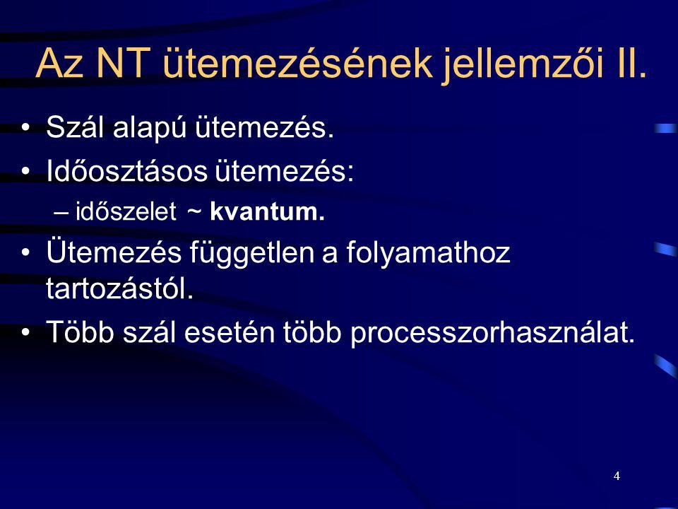 4 Az NT ütemezésének jellemzői II. Szál alapú ütemezés. Időosztásos ütemezés: –időszelet ~ kvantum. Ütemezés független a folyamathoz tartozástól. Több