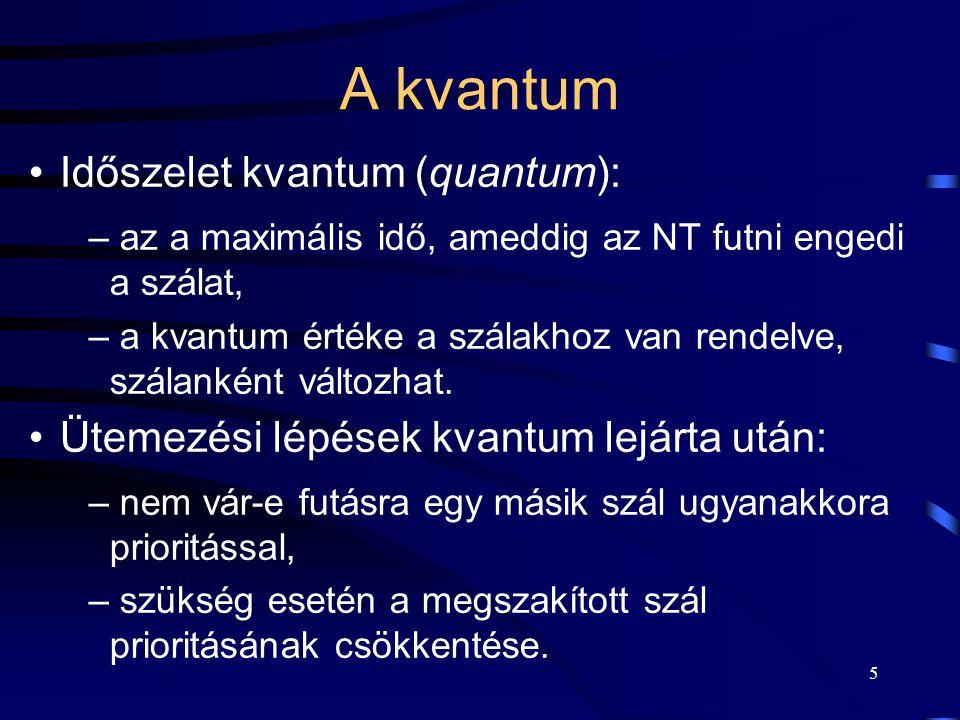 5 A kvantum Időszelet kvantum (quantum): – az a maximális idő, ameddig az NT futni engedi a szálat, – a kvantum értéke a szálakhoz van rendelve, szála