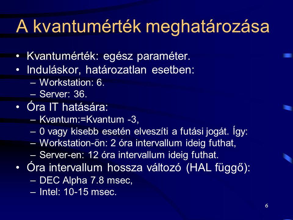 6 A kvantumérték meghatározása Kvantumérték: egész paraméter. Induláskor, határozatlan esetben: –Workstation: 6. –Server: 36. Óra IT hatására: –Kvantu