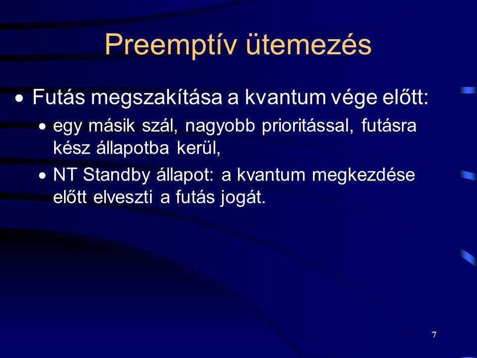 7 Preemptív ütemezés  Futás megszakítása a kvantum vége előtt:  egy másik szál, nagyobb prioritással, futásra kész állapotba kerül,  NT Standby állapot: a kvantum megkezdése előtt elveszti a futás jogát.