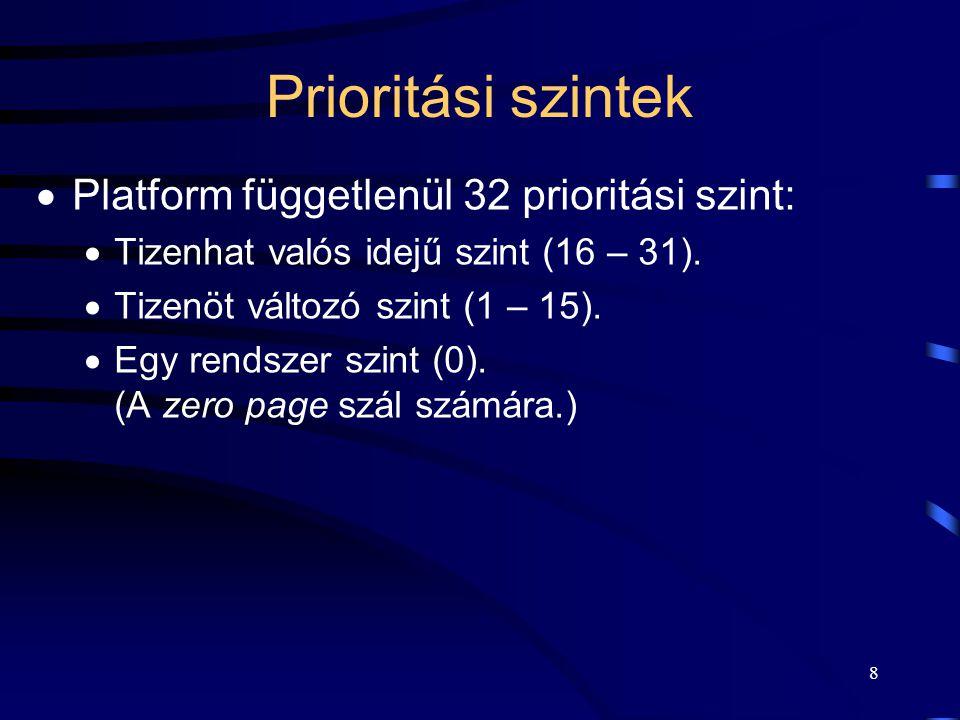 8 Prioritási szintek  Platform függetlenül 32 prioritási szint:  Tizenhat valós idejű szint (16 – 31).  Tizenöt változó szint (1 – 15).  Egy rends