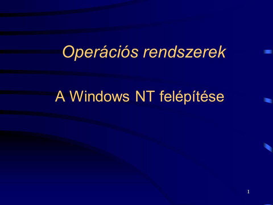 2 A Windows NT  1996: NT 4.0. Felépítésében is új operációs rendszer: New Technology (NT).