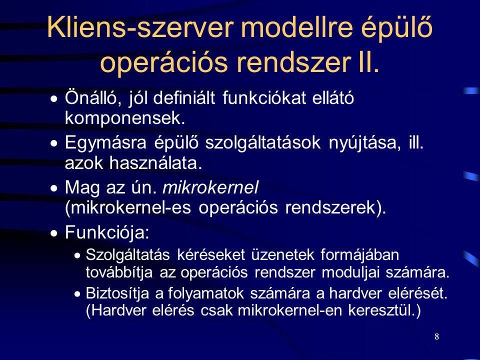 19 A kernel funkciója Jól definiált működésű alapmodulokat (ún.